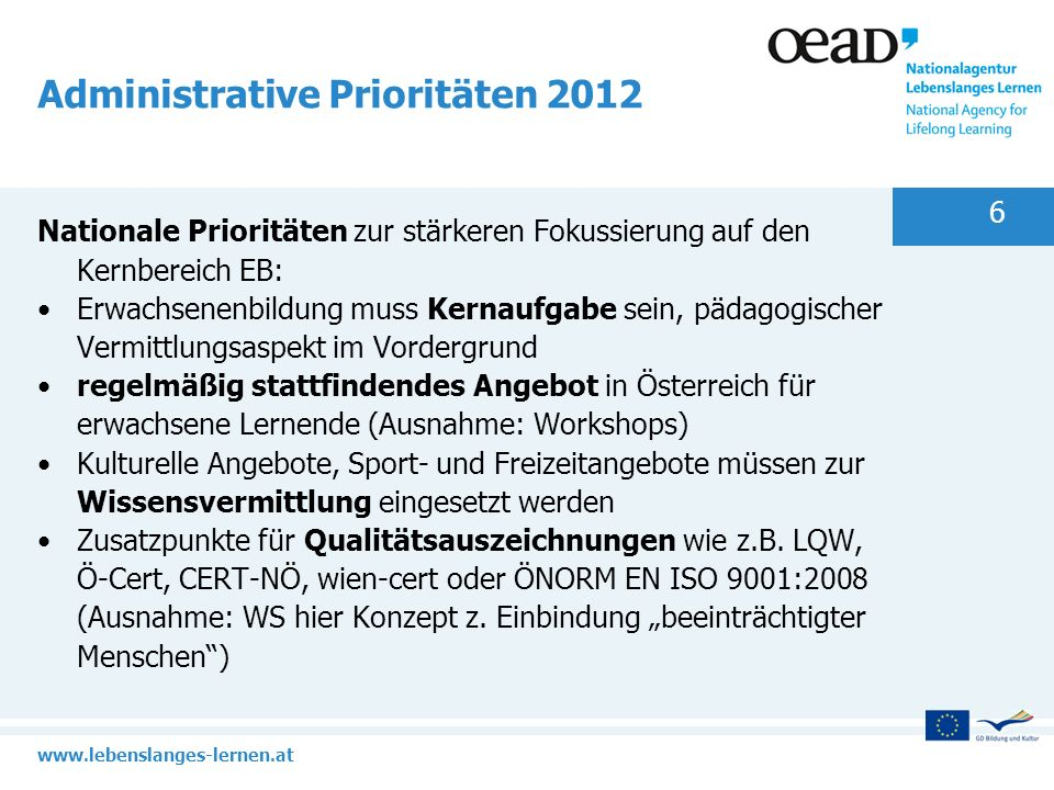 Administrative Prioritäten 2012