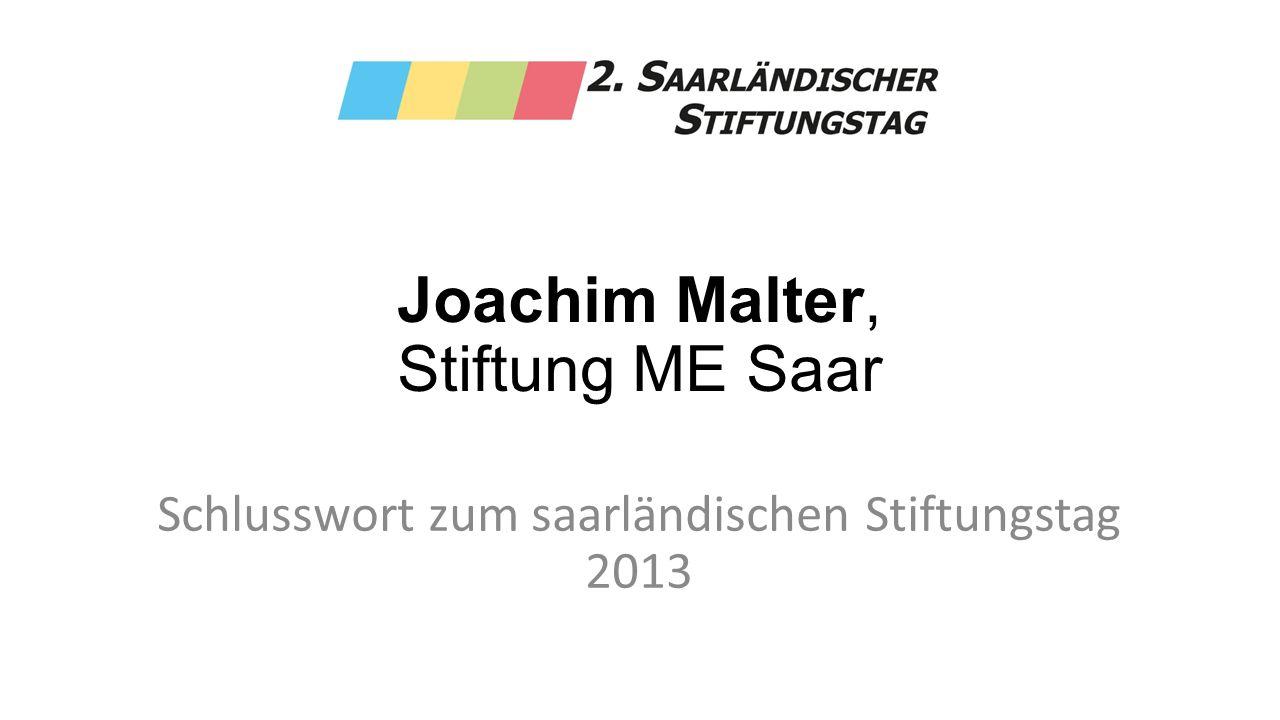 Joachim Malter, Stiftung ME Saar