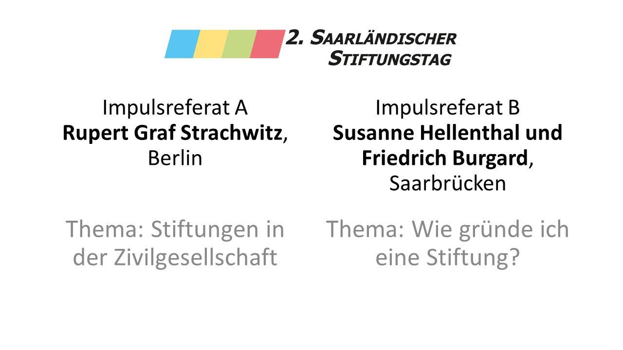 Impulsreferat A Rupert Graf Strachwitz, Berlin Thema: Stiftungen in der Zivilgesellschaft