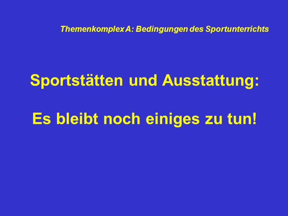 Sportstätten und Ausstattung: Es bleibt noch einiges zu tun!