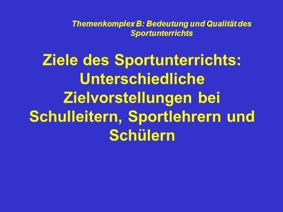 Themenkomplex B: Bedeutung und Qualität des Sportunterrichts
