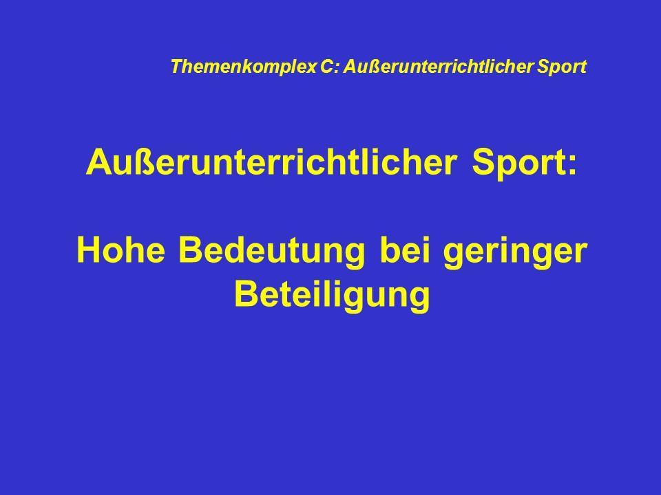 Außerunterrichtlicher Sport: Hohe Bedeutung bei geringer Beteiligung