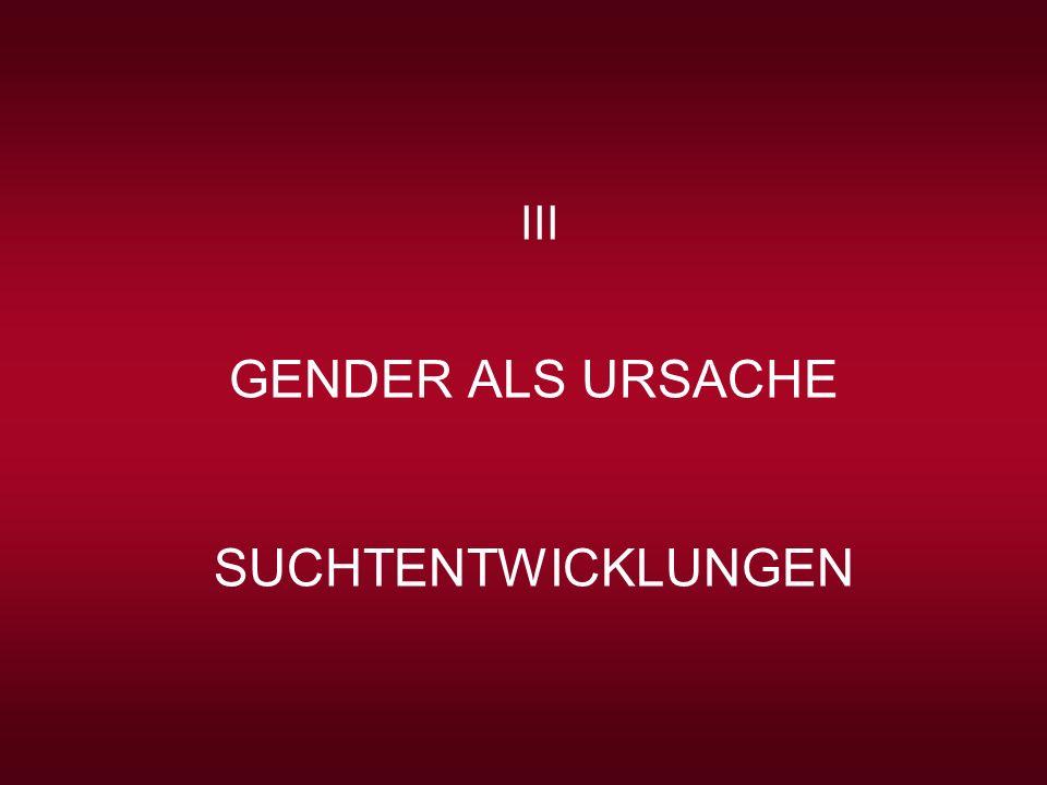 GENDER ALS URSACHE SUCHTENTWICKLUNGEN III Gender liegt im Hauptstrom