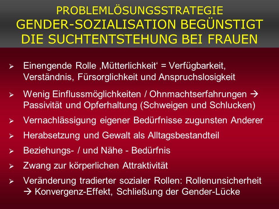 PROBLEMLÖSUNGSSTRATEGIE GENDER-SOZIALISATION BEGÜNSTIGT DIE SUCHTENTSTEHUNG BEI FRAUEN