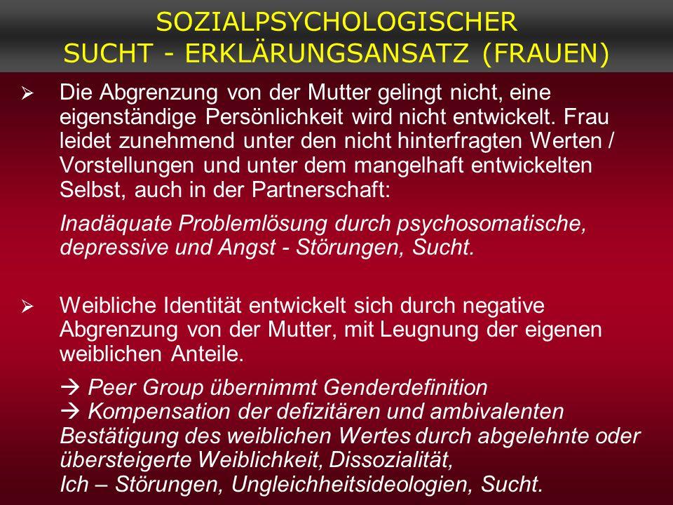 SOZIALPSYCHOLOGISCHER SUCHT - ERKLÄRUNGSANSATZ (FRAUEN)