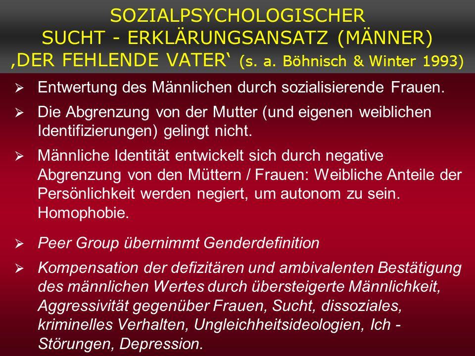 SOZIALPSYCHOLOGISCHER SUCHT - ERKLÄRUNGSANSATZ (MÄNNER) 'DER FEHLENDE VATER' (s. a. Böhnisch & Winter 1993)