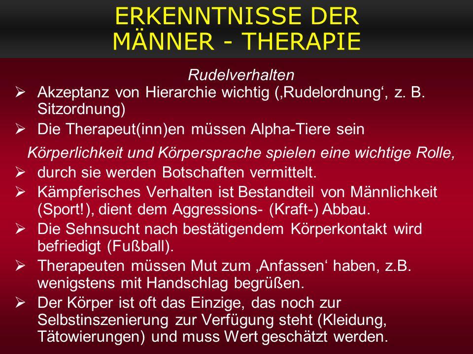 ERKENNTNISSE DER MÄNNER - THERAPIE