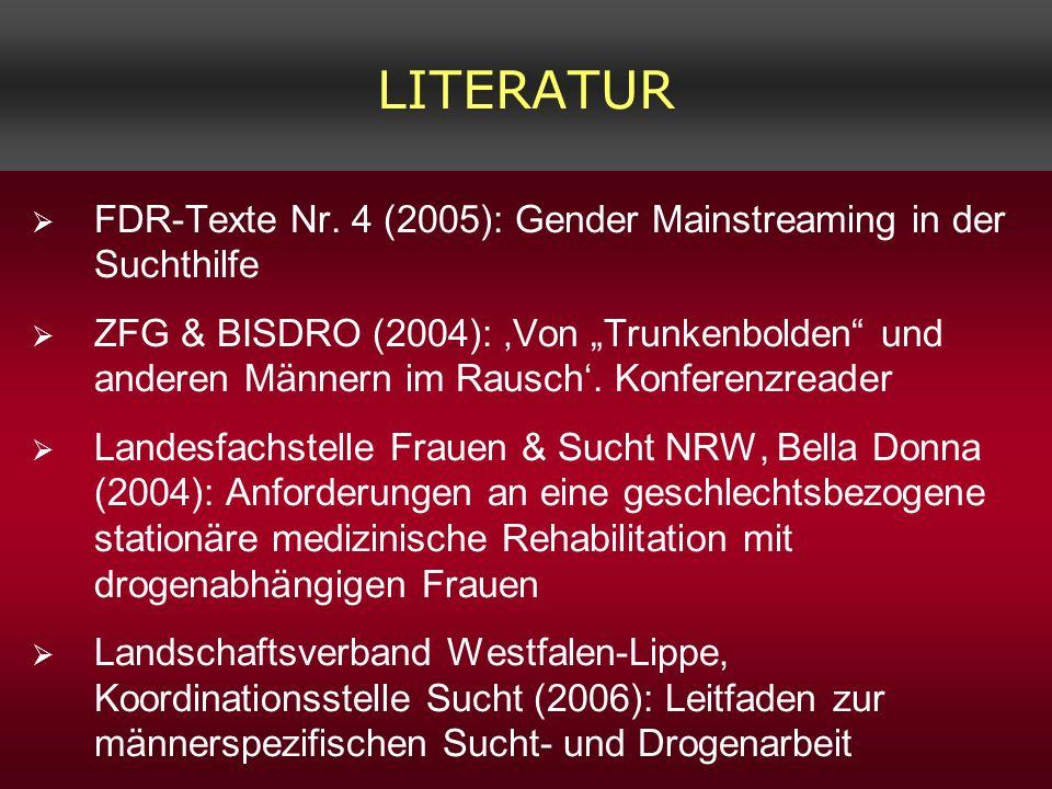 LITERATURFDR-Texte Nr. 4 (2005): Gender Mainstreaming in der Suchthilfe.