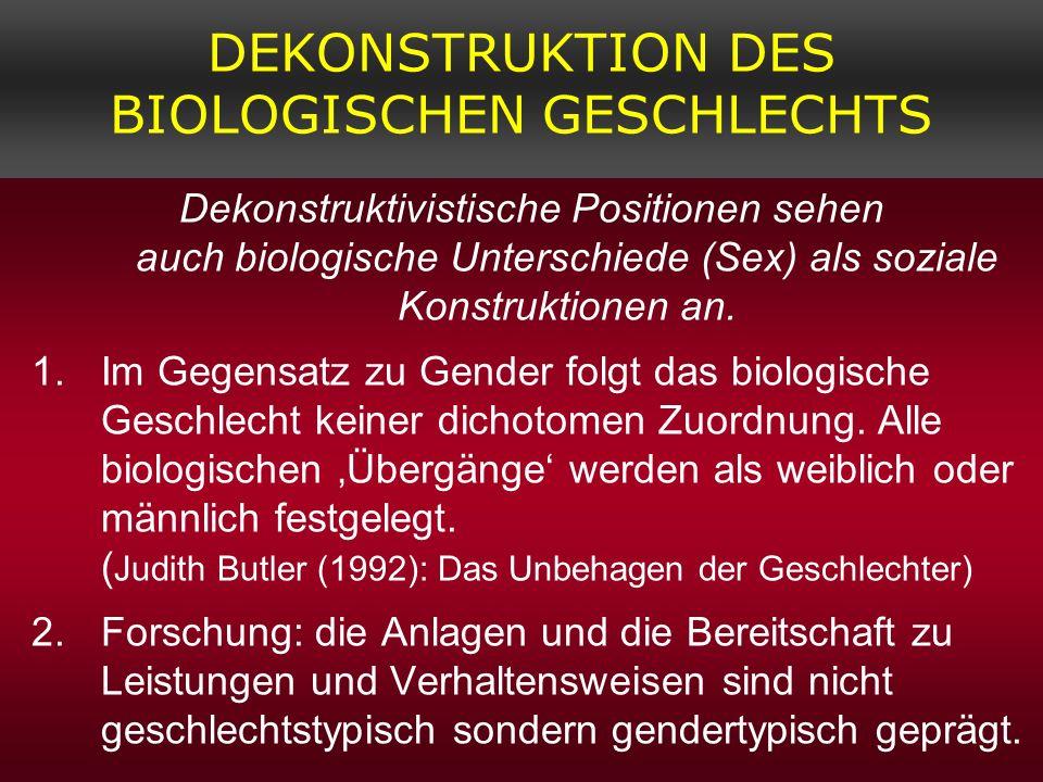 DEKONSTRUKTION DES BIOLOGISCHEN GESCHLECHTS