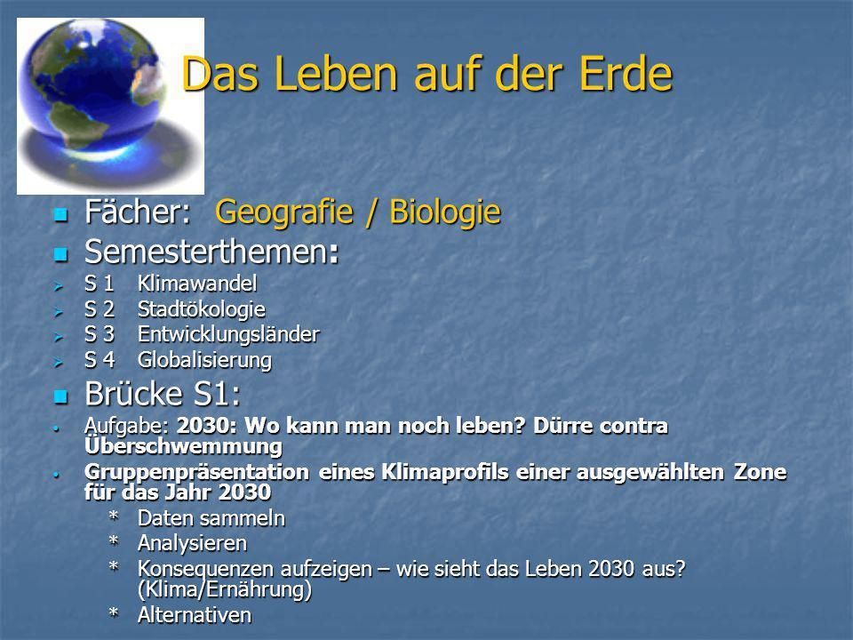 Das Leben auf der Erde Fächer: Geografie / Biologie Semesterthemen: