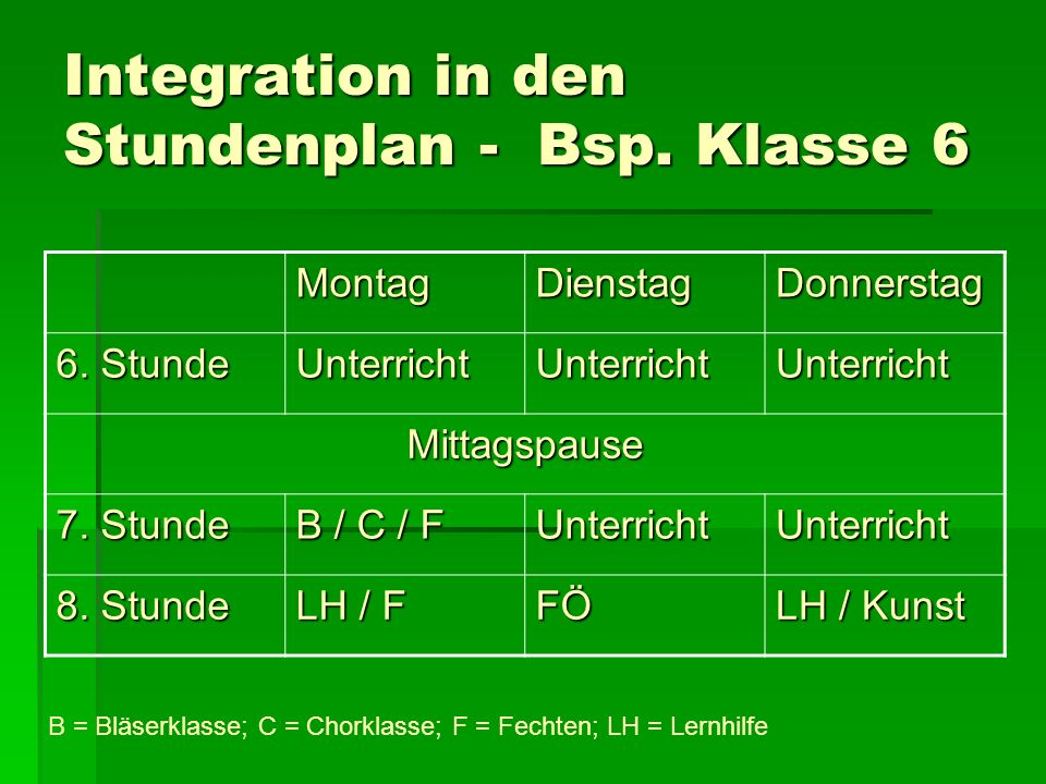 Integration in den Stundenplan - Bsp. Klasse 6