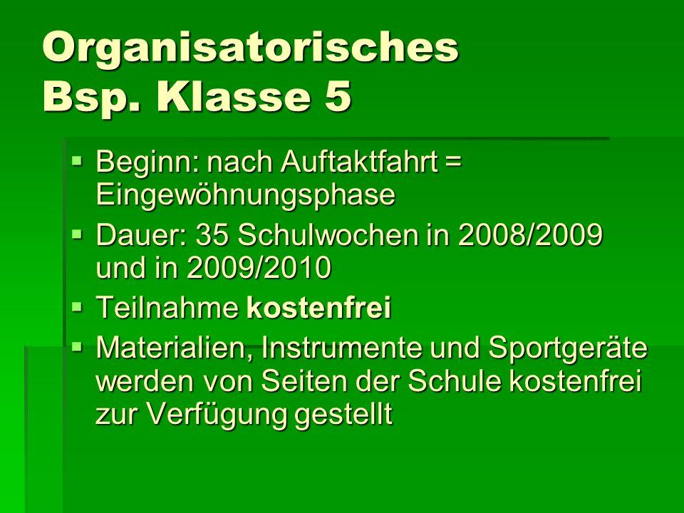 Organisatorisches Bsp. Klasse 5