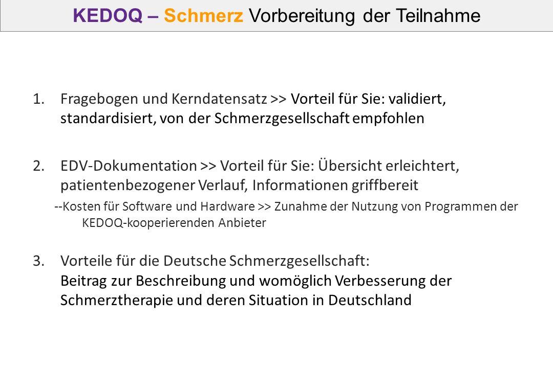 KEDOQ – Schmerz Vorbereitung der Teilnahme