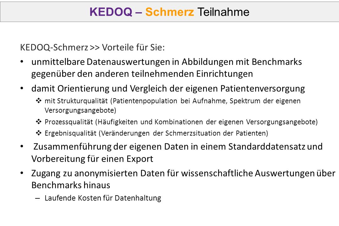 KEDOQ – Schmerz Teilnahme