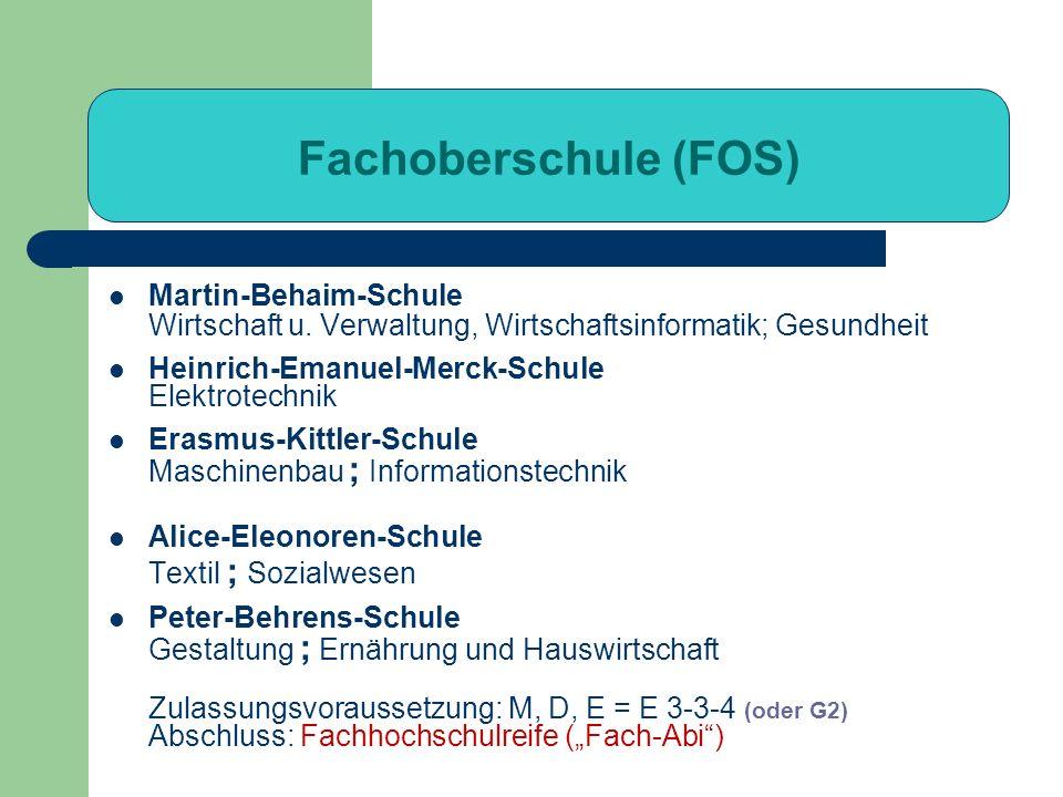 Fachoberschule (FOS) Martin-Behaim-Schule Wirtschaft u. Verwaltung, Wirtschaftsinformatik; Gesundheit.