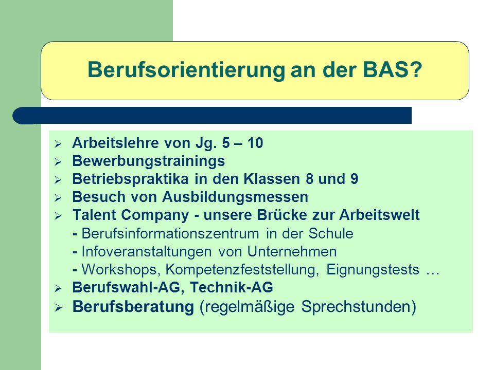 Berufsorientierung an der BAS