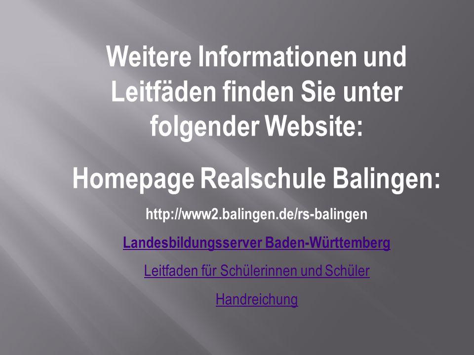 Homepage Realschule Balingen: Landesbildungsserver Baden-Württemberg
