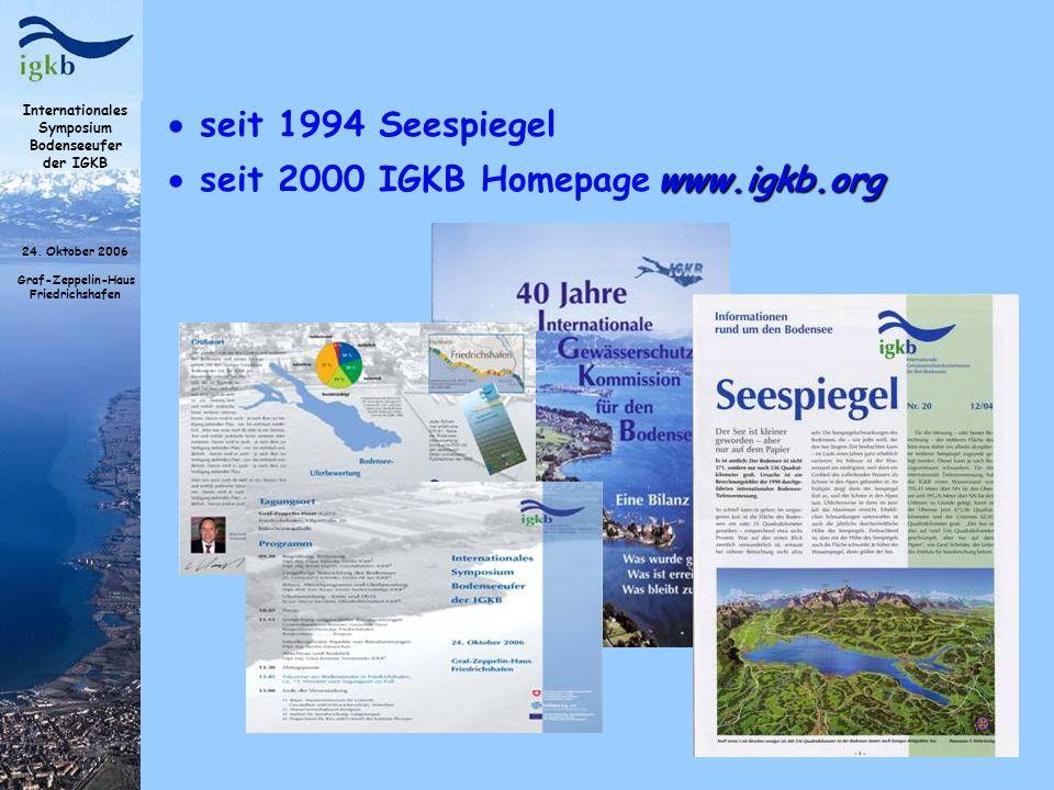 seit 1994 Seespiegel seit 2000 IGKB Homepage www.igkb.org