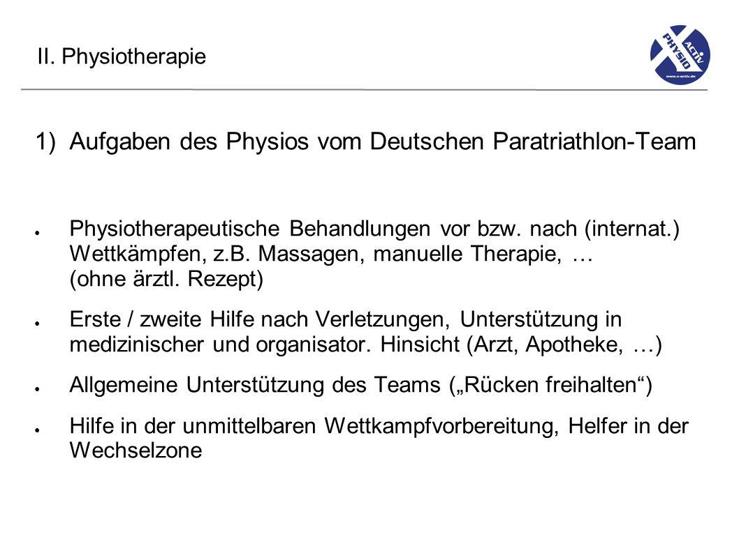 Aufgaben des Physios vom Deutschen Paratriathlon-Team