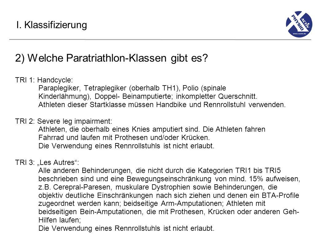 2) Welche Paratriathlon-Klassen gibt es