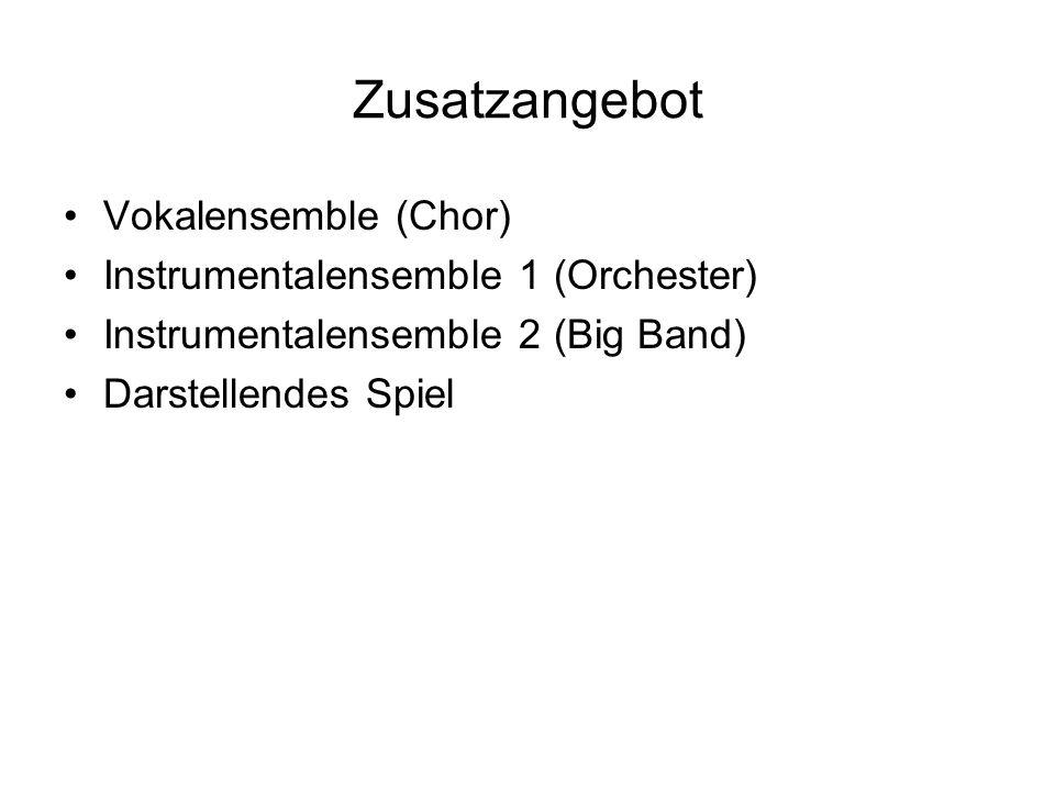 Zusatzangebot Vokalensemble (Chor) Instrumentalensemble 1 (Orchester)