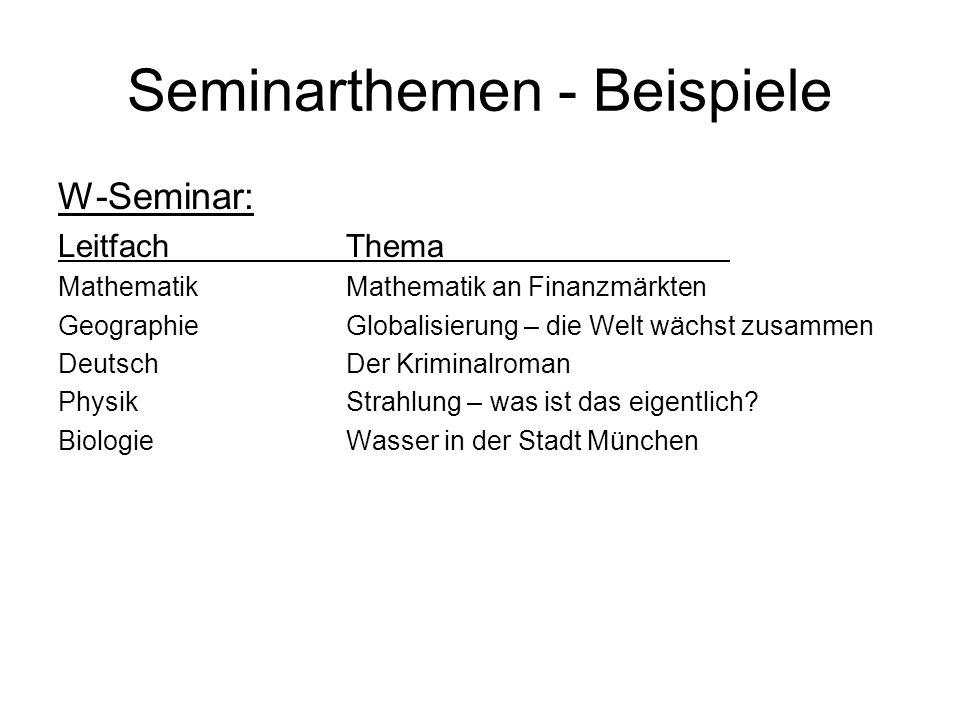 Seminarthemen - Beispiele