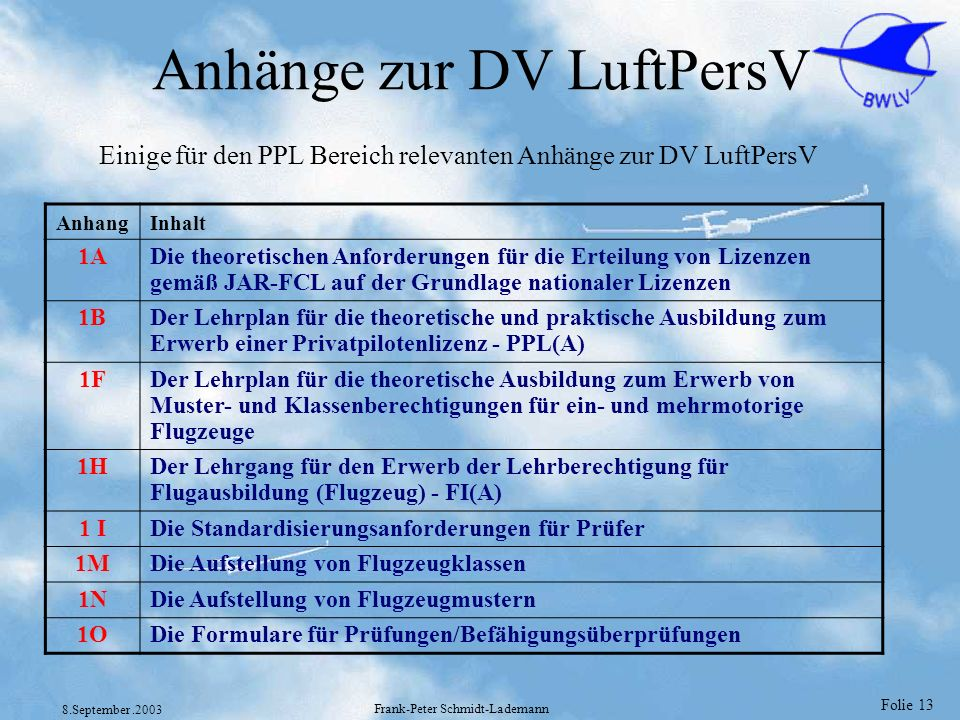 Anhänge zur DV LuftPersV
