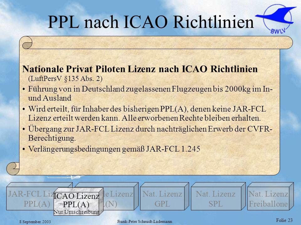 PPL nach ICAO Richtlinien