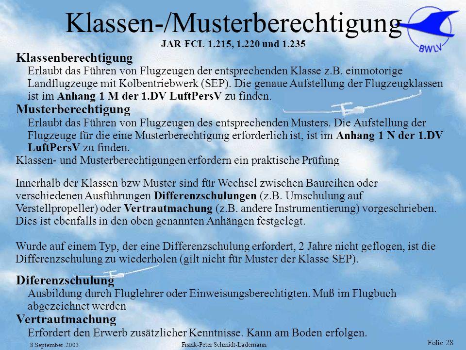 Klassen-/Musterberechtigung JAR-FCL 1.215, 1.220 und 1.235
