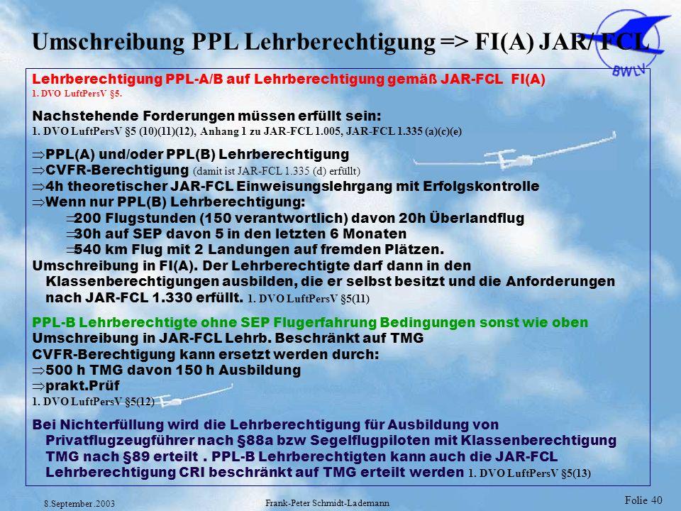 Umschreibung PPL Lehrberechtigung => FI(A) JAR/ FCL