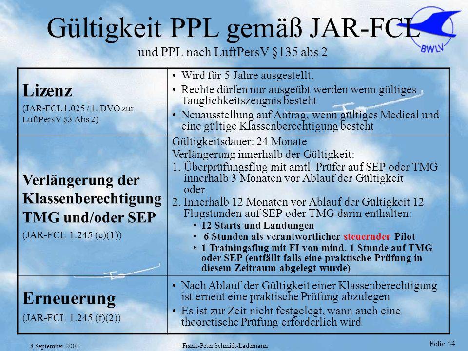 Gültigkeit PPL gemäß JAR-FCL und PPL nach LuftPersV §135 abs 2