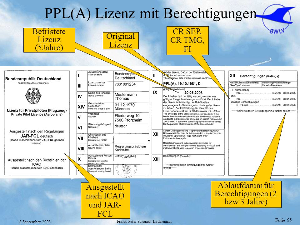 PPL(A) Lizenz mit Berechtigungen