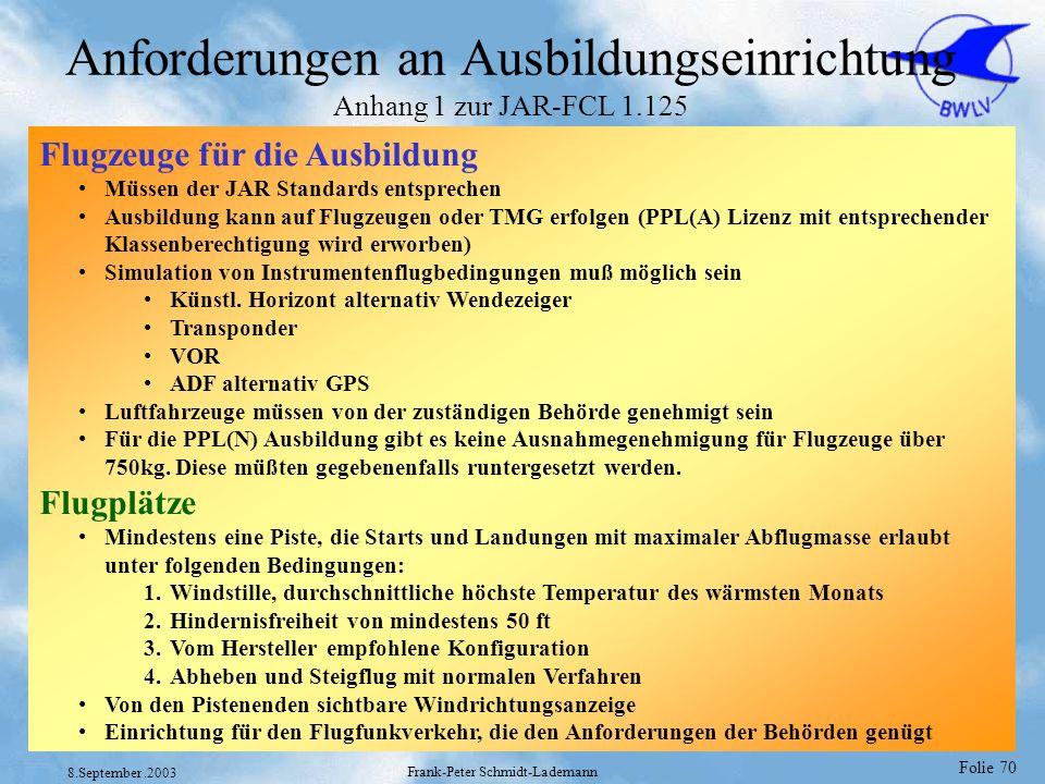 Anforderungen an Ausbildungseinrichtung Anhang 1 zur JAR-FCL 1.125