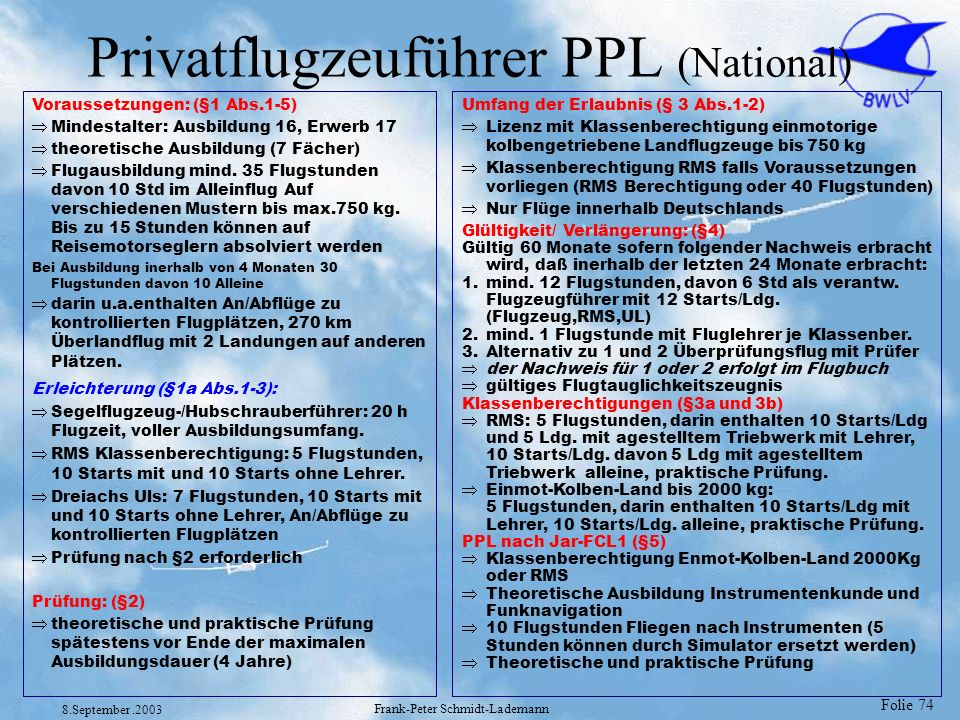 Privatflugzeuführer PPL (National)