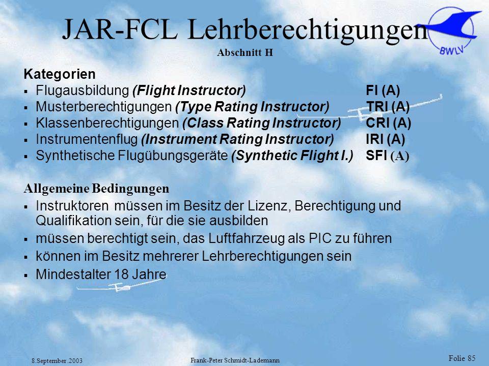 JAR-FCL Lehrberechtigungen Abschnitt H