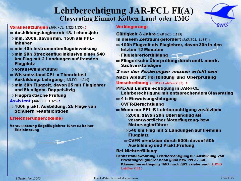 Lehrberechtigung JAR-FCL FI(A) Classrating Einmot-Kolben-Land oder TMG