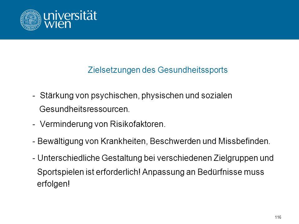 Zielsetzungen des Gesundheitssports
