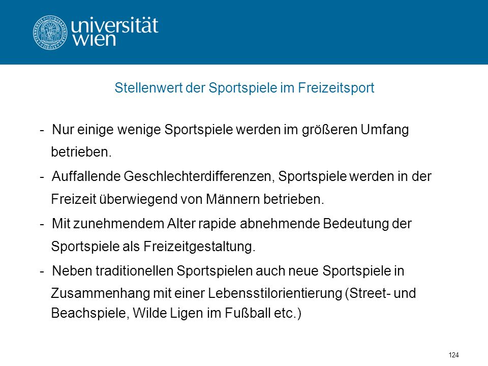 Stellenwert der Sportspiele im Freizeitsport
