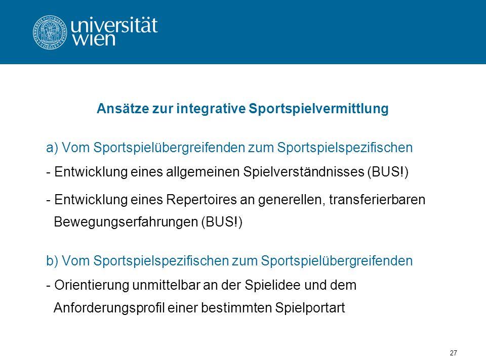 Ansätze zur integrative Sportspielvermittlung