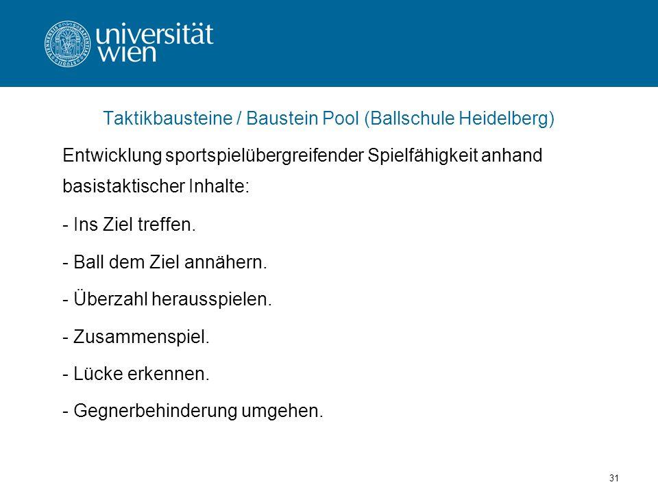 Taktikbausteine / Baustein Pool (Ballschule Heidelberg)