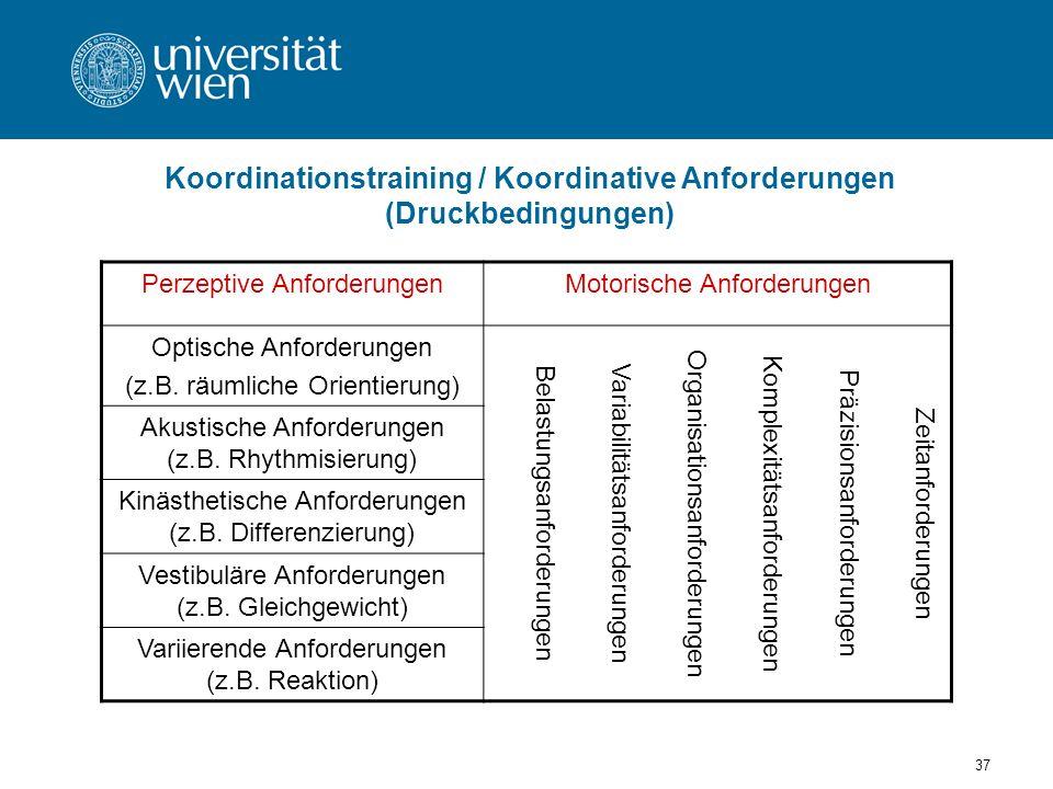 Koordinationstraining / Koordinative Anforderungen (Druckbedingungen)