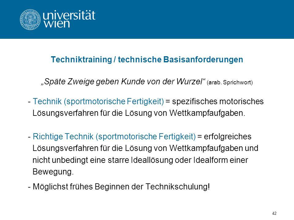Techniktraining / technische Basisanforderungen