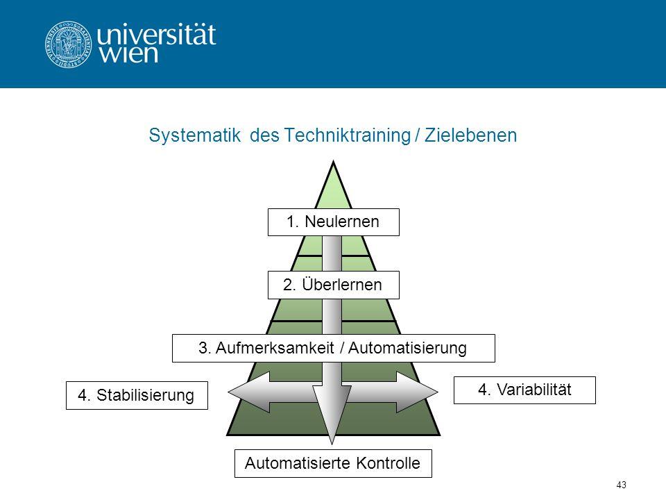 Systematik des Techniktraining / Zielebenen