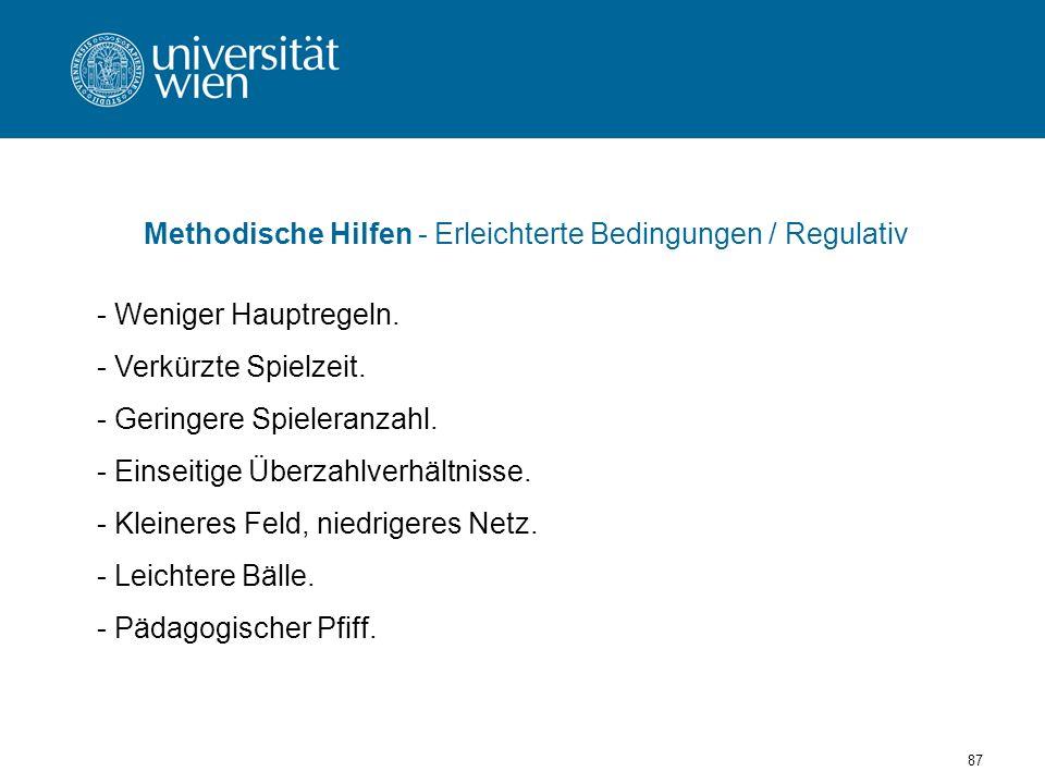 Methodische Hilfen - Erleichterte Bedingungen / Regulativ
