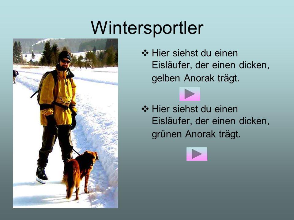 Wintersportler Hier siehst du einen Eisläufer, der einen dicken, gelben Anorak trägt.