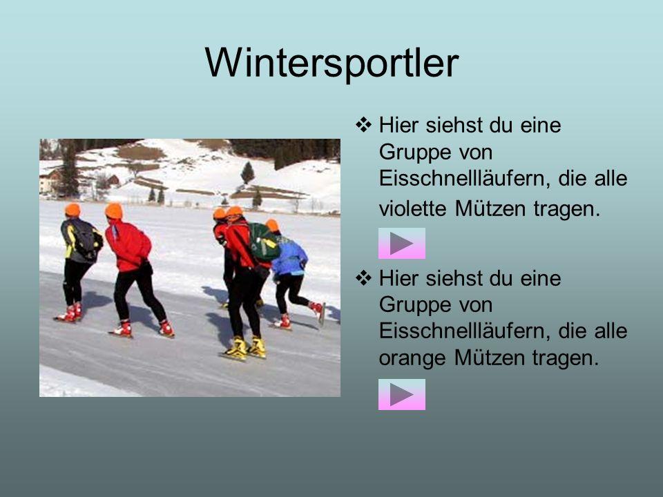 Wintersportler Hier siehst du eine Gruppe von Eisschnellläufern, die alle violette Mützen tragen.