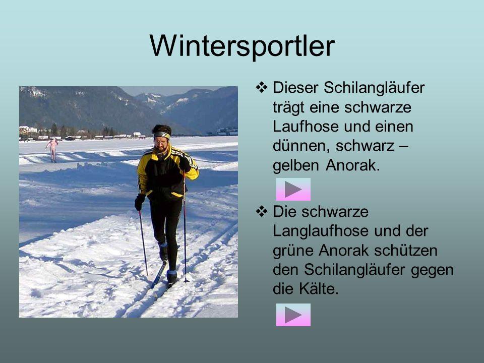Wintersportler Dieser Schilangläufer trägt eine schwarze Laufhose und einen dünnen, schwarz – gelben Anorak.