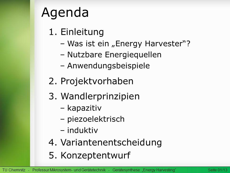 Agenda 1. Einleitung 2. Projektvorhaben 3. Wandlerprinzipien
