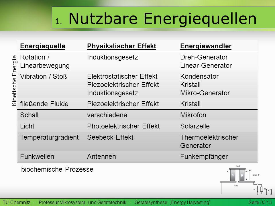 1. Nutzbare Energiequellen