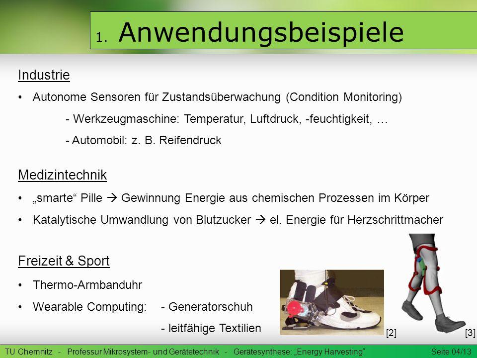 1. Anwendungsbeispiele Industrie Medizintechnik Freizeit & Sport